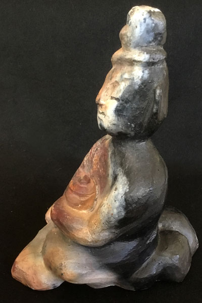 Healing Buddha (pit-fired -side view) by Michael Hofmann